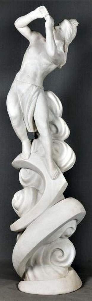 Italian Carved Carrara Marble Figure Of An Indian