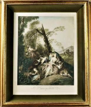 Original L'Escarpolette Painting By John Baptiste
