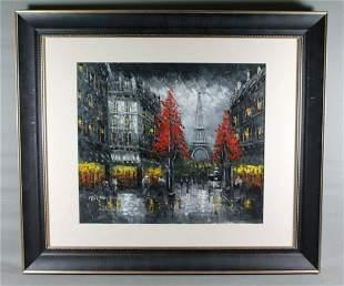 """Framed Oil On Board """"Paris Scene"""" Signed"""