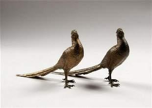 Pair Of Bergman Austrian Bronze Pheasants