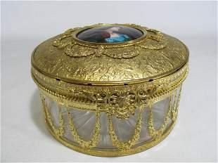 Antique French Gilt Bronze, Crystal & Enamel Box