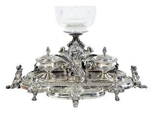 French Silver Ink Stand With Figure Of Aristotle