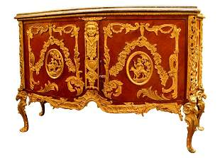 French Marble Top Bronze Mounted Commode