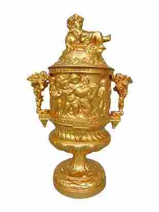 Antique Victorian 3Pc Urn W/ Cherubs