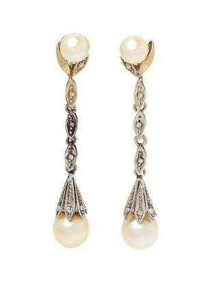 A Pair Of White Gold And Cultured Pearl Earclips,