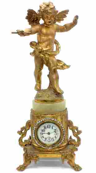 Antique French Metal & Onyx Miniature Cupid Clock