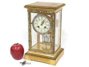French Marti Gilt Bronze Crystal Regulator Shelf Clock,