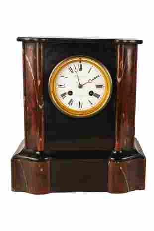 French Black & Rouge Marble Table Clock