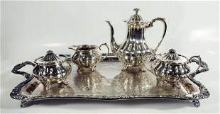 Four Piece Silverplated Sheffield English Teaset With