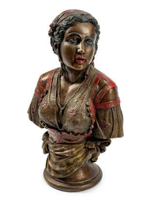 Austrian Cold-Painted Bronze Bust Of Rebecca