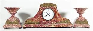 Rouge Marble Three Piece Clock Set