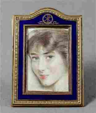 Miniature Bronze And Enamel Picture Frame