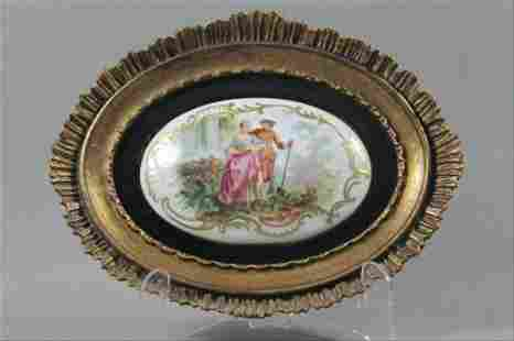 A Hand Painted Porcelain Plaque Signed In Gold Wood
