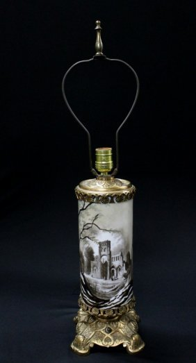 2: 19TH CENTURY BACARRAT GLASS AND BRONZE TABLE LAMP