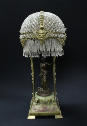 5: 19TH CENTURY GILT BRONZE LAMP WITH A PATINATED BRONZ