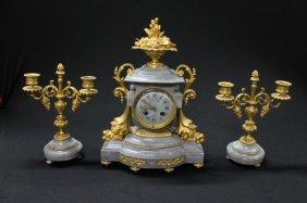 8: FEENCH LOIUS XVI STYLE DORE BRONZE & MARBLE 3 PIECE