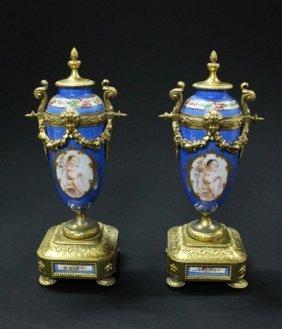11: LOUIS XVI STYLE BRONZE & SEVRES PORCELAIN VASES