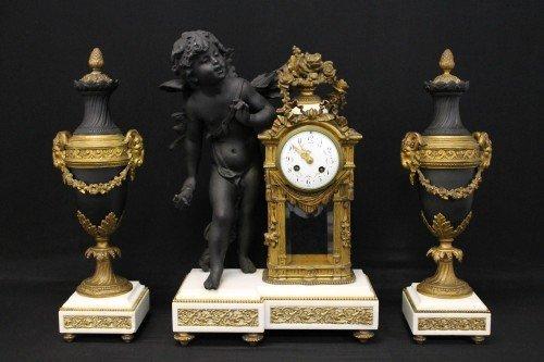 90: 19TH CENTURY METAL AND WHITE MARBLE CLOCK GARNITURE