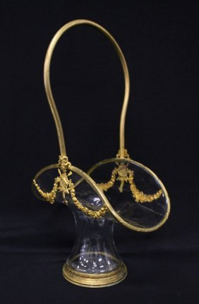 215: Antique baccarat style glass and ormolu basket