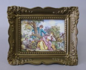 341: 19TH CENTURY FRENCH ENAMEL PLAQUE IN FRAME
