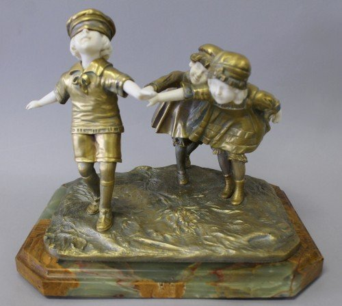 362: CHIPARUS BRONZE AND IVORY GROUP 3 KIDS PLAYING HID