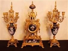 489: MONUMENTAL 19TH CENTURY LIMOGES ENAMEL CLOCK SET
