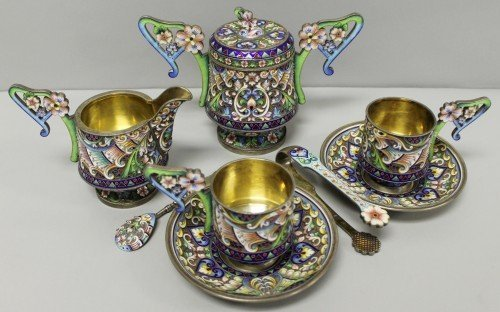 621: RUSSIAN ENAMEL TEA SET MARKED