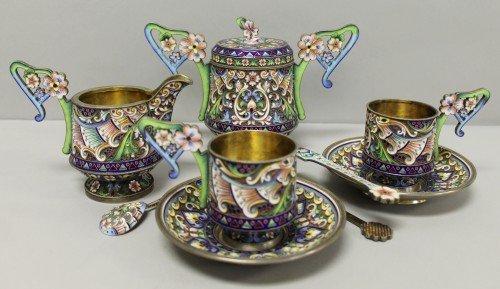 621: RUSSIAN ENAMEL TEA SET MARKED - 2