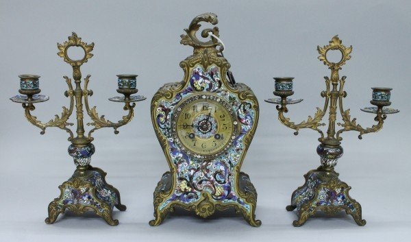 3 PIECE FRENCH BRONZE AND CHAMPLEVE ENAMELLED CLOCK SET
