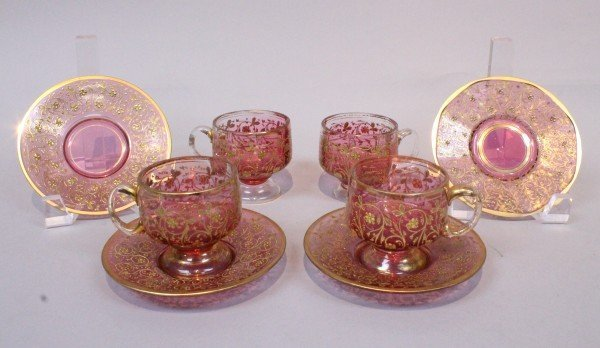 SET OF 4 19TH C. MOSER CUP AND SAUCERS