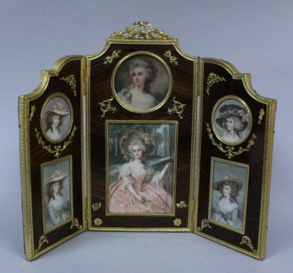 19TH C. EMPIRE STYLE ORMOLU MOUNTED PICTURE FRAME