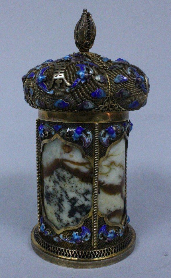 A CHINESE POLYCHROME ENAMELED CLOISONNE AND SILVER