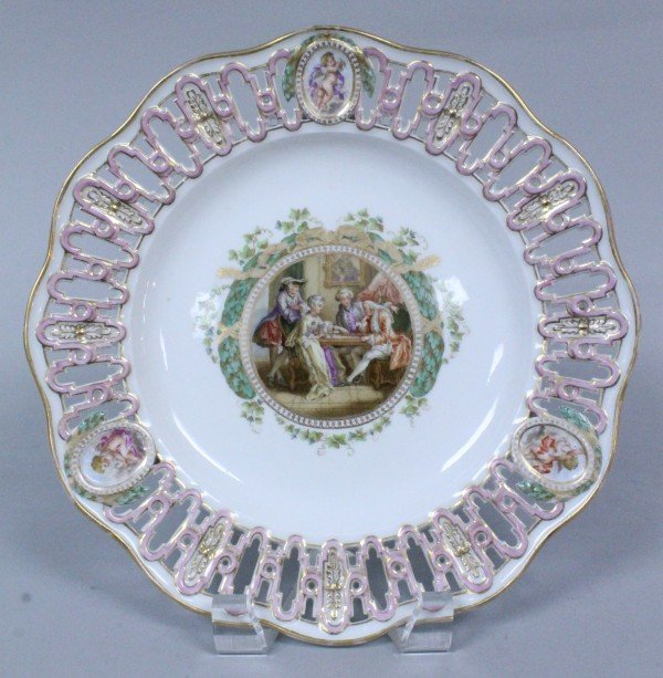 19TH C. MEISSEN RETICULATED PLATE