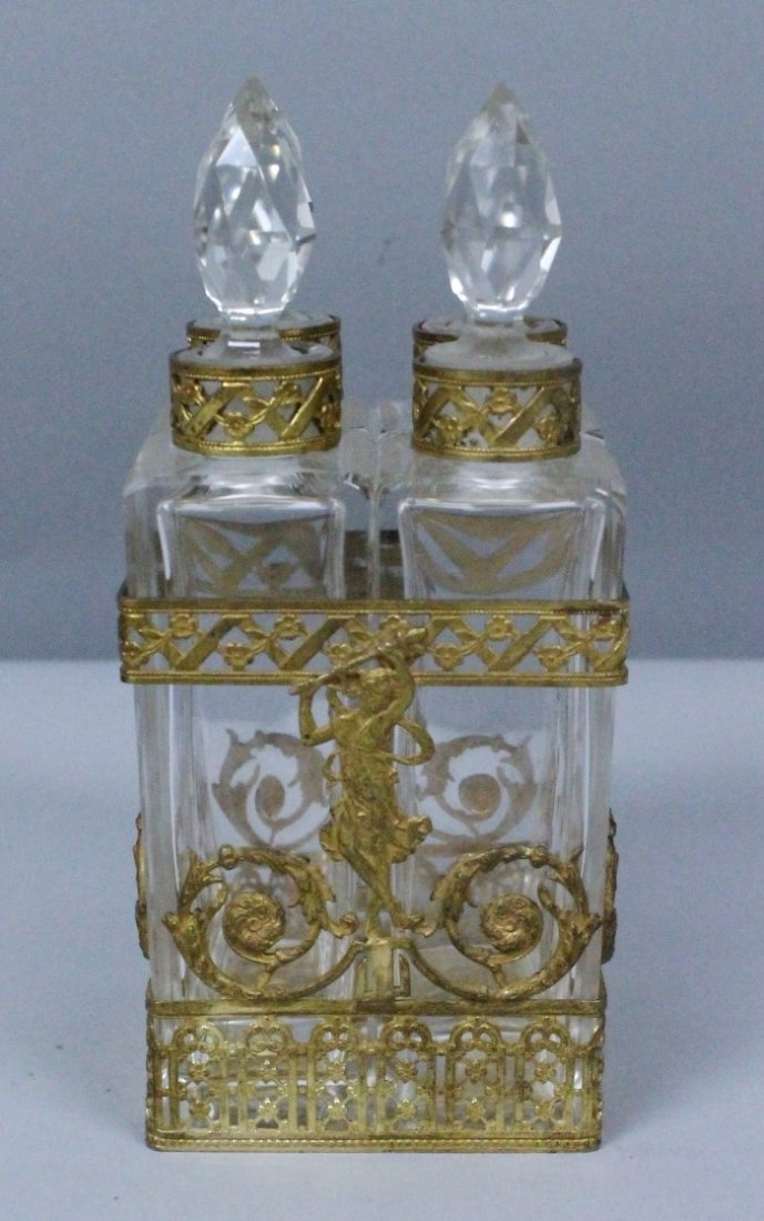 ANTIQUE BACCARAT STYLE  AND ORMOLU PERFUME BOTTLE