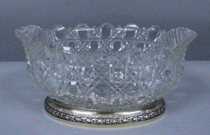 BACCARAT CUT GLASS AND STERLING BOWL WITH BASE