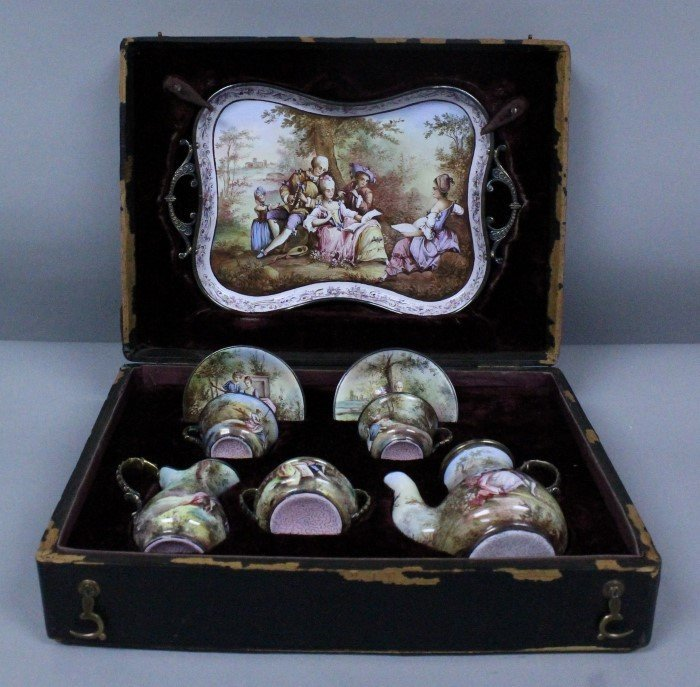 VIENNESE ENAMEL TEASET ON SILVER IN ORIGINAL BOX