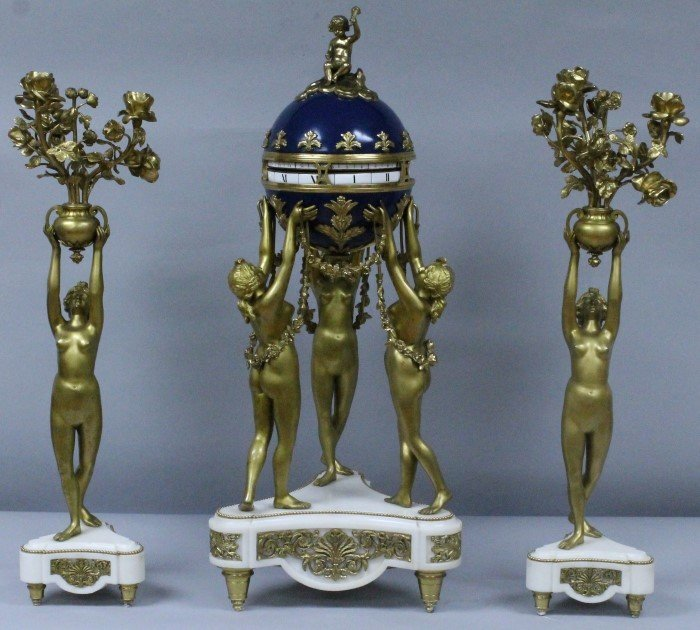 19TH C. ORMOLU AND WHITE MARBLE ENAMELLED 3 GRACES CLOC