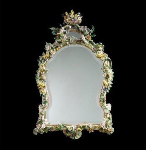 19th CENTURY MEISSEN MIRROR
