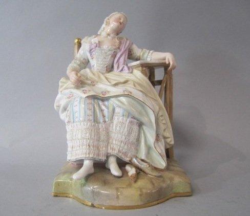 MEISSEN PORCELAIN SLEEPING LADY FIGURINE