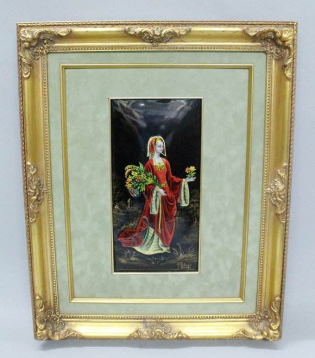19TH CENTURY LIMOGES ENAMEL PLAQUE OF A MAIDEN SIGNED R