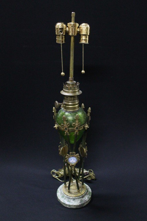 EMPIRE STYLE GILT BRONZE LAMP WITH GREEN ETCHED GLASS A