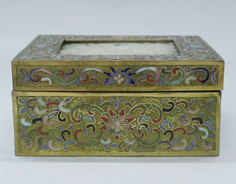 CHAMPLEVE ENAMEL BOX WITH JADE PLAQUE