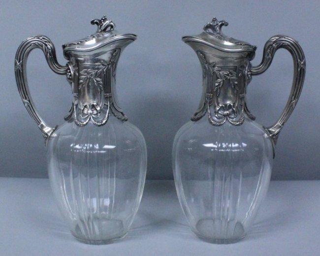 Pair Of French Cut Glass And Silver Decanters