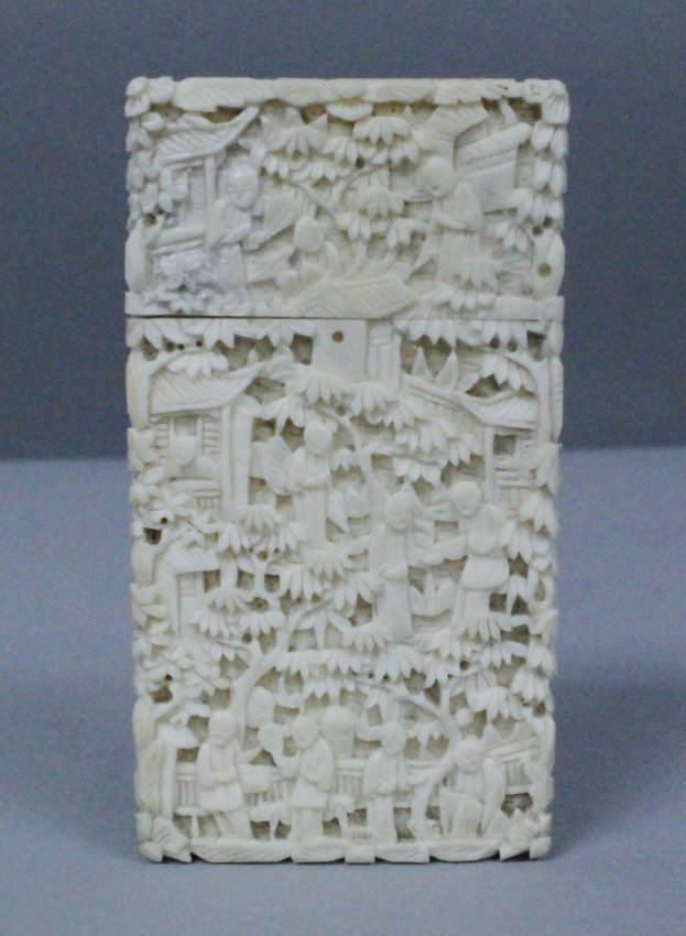 19th C. Chinese Carved Ivory Card Box