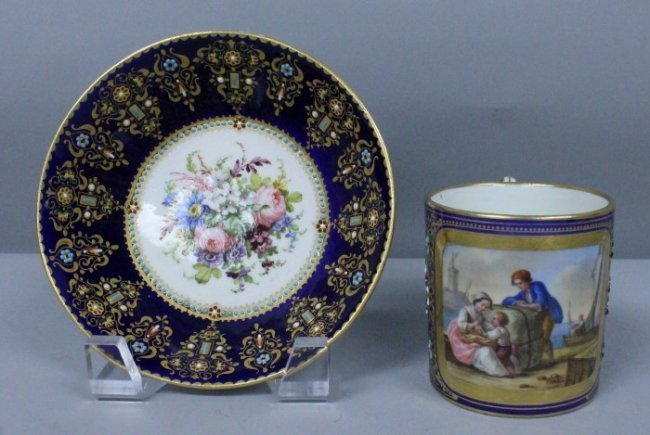 19th C. Jewelled Sevres Cup And Saucer