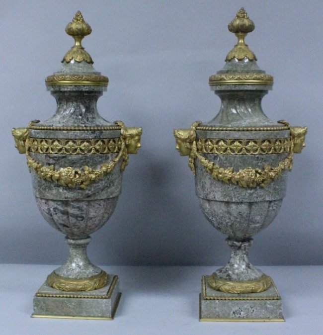 Pair Of 19th C. Bronze And Marble Vases With Lids