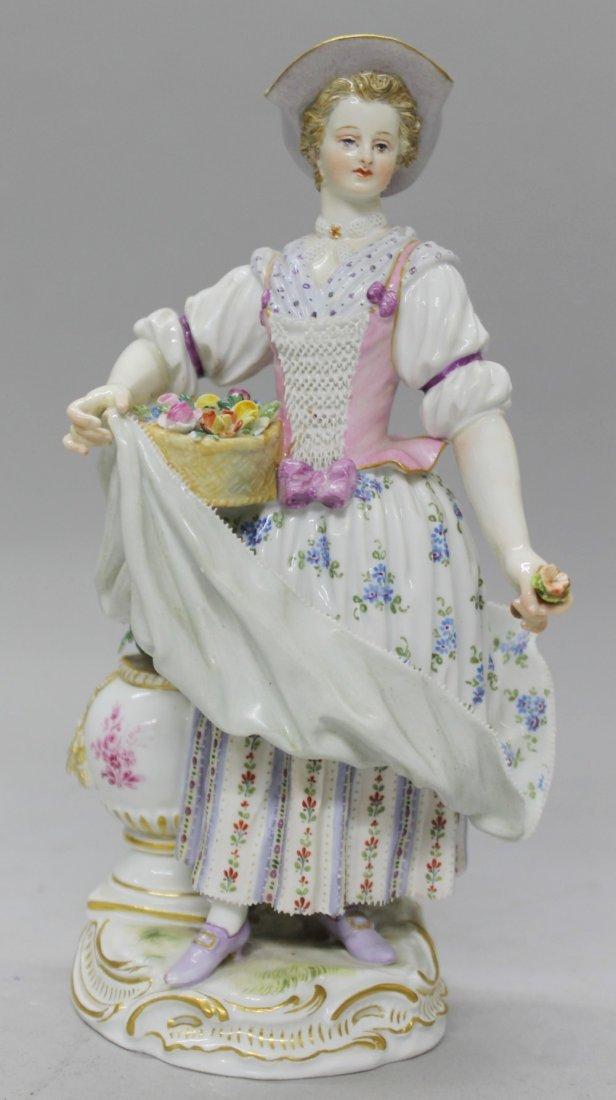 MEISSEN FIGURE OF WOMAN WITH FLOWERS