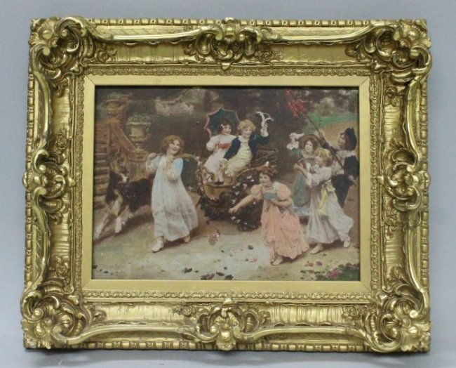 19th century picture in very ornate giltwood frame