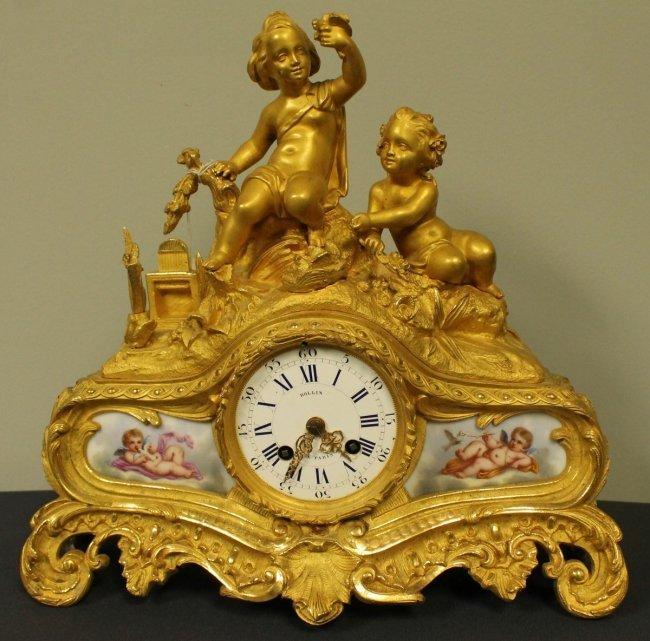 19TH C. SEVRES AND ORMOLU CLOCK