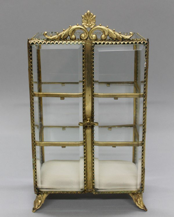 C. 1900 Beveled Glass And Brass Jewelry Case